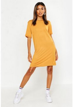 Womens Mustard Turn Back Cuff T-Shirt Dress