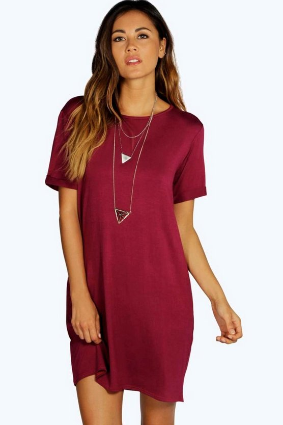 Plum Turn Back Cuff T-Shirt Dress