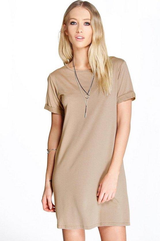 Turn Back Cuff T-Shirt Dress