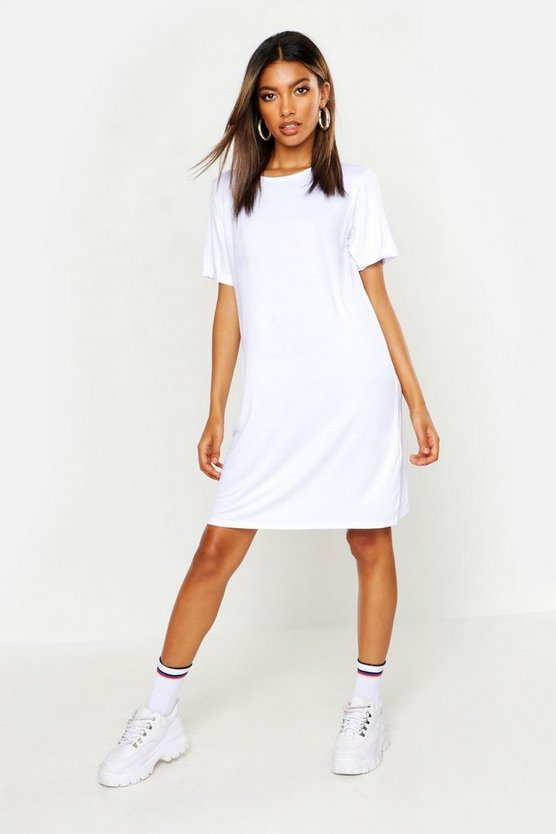 Womens White Turn Back Cuff T-Shirt Dress