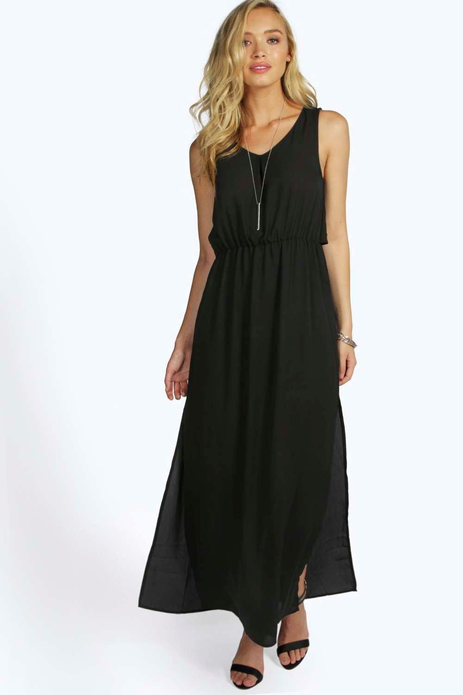 e65655a8c1967 SHOW MORE boohoo Pauline Chiffon Maxi Dress - black