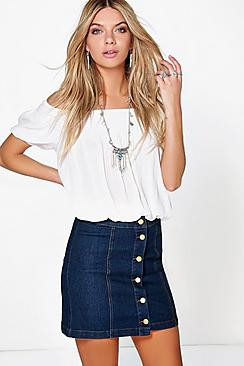 Denim Button Front Mini Skirt