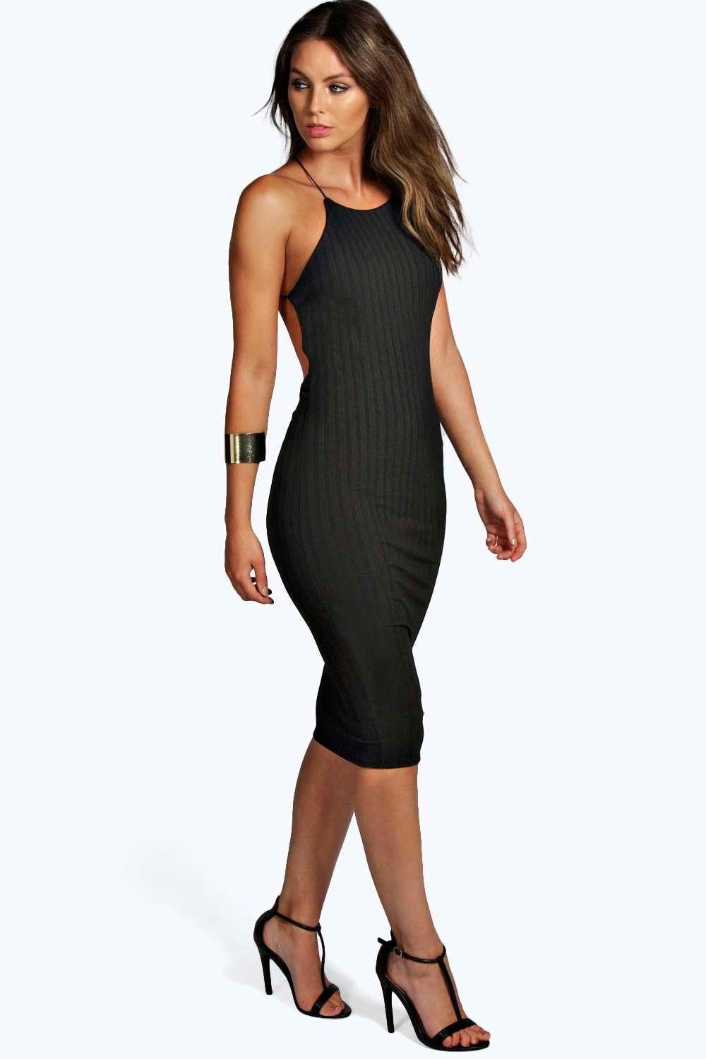 be81b7f656d5 Womens Black Silvia Ribbed Strappy Midi Bodycon Dress. Hover to zoom