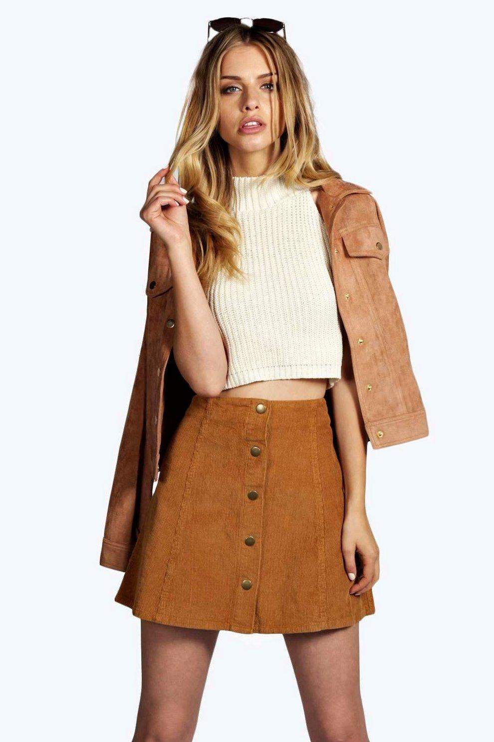 04f6b30c2 Laura Cord Button Through Mini Skirt   Boohoo
