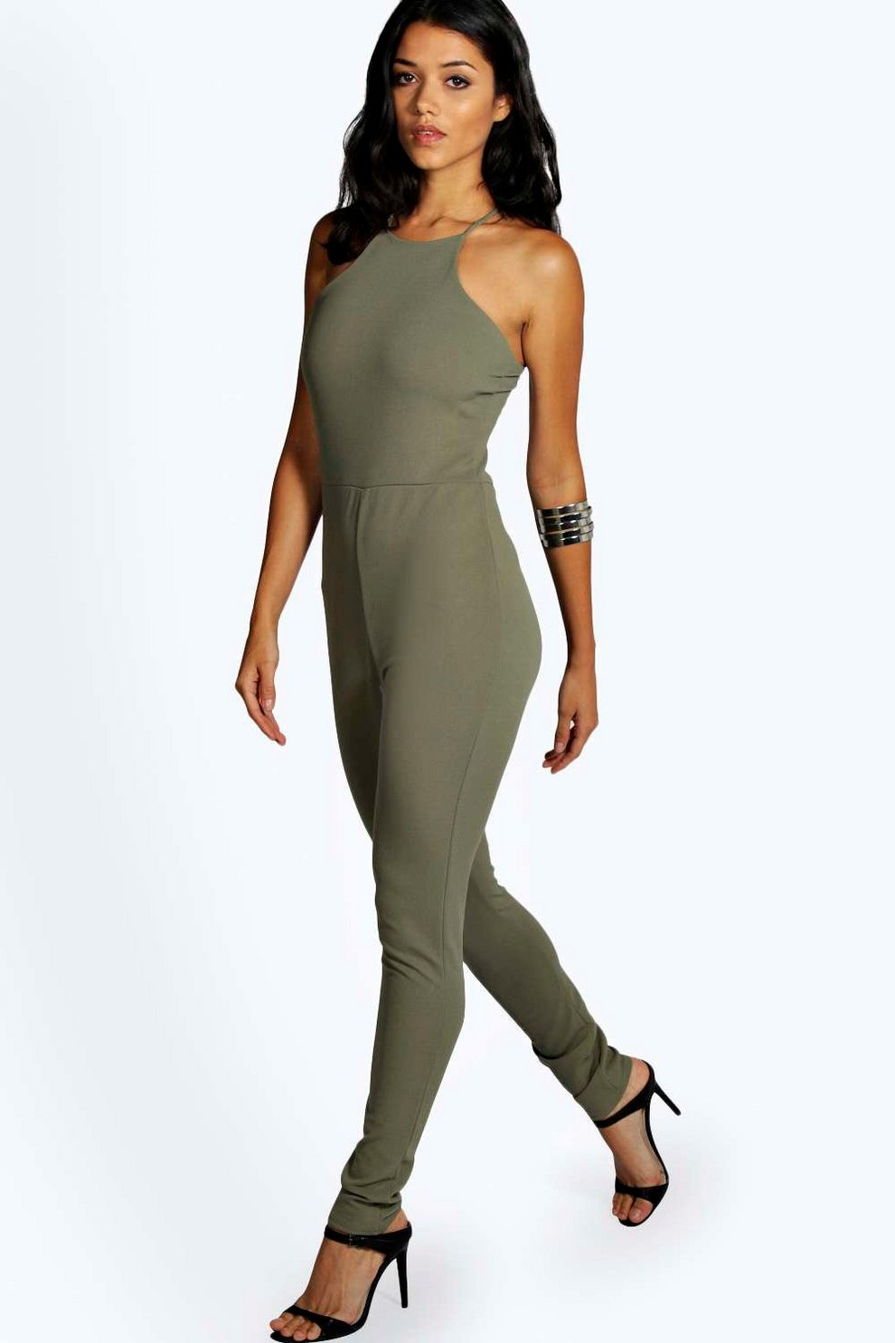 0b3487a41 Taylor Textured Crepe Strappy Jumpsuit