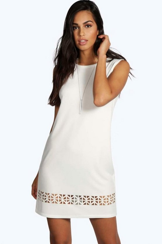 Womens Ivory Dalia Laser Cut Sleeveless Shift Dress