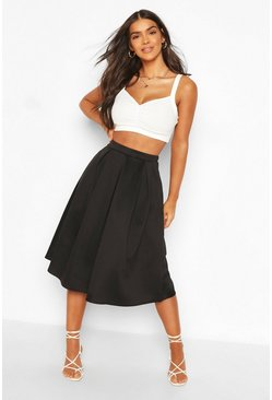 Womens Black Basic Box Pleat Midi Skirt