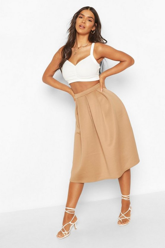 Womens Ivory Basic Box Pleat Midi Skirt
