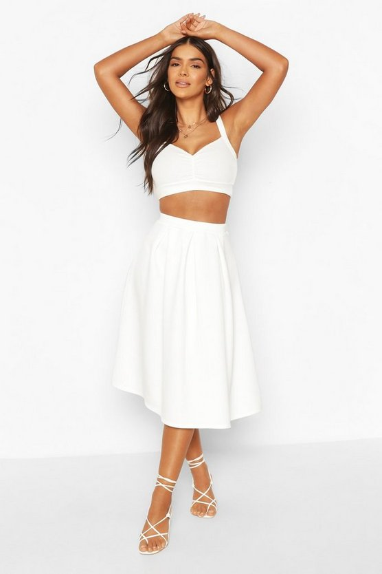 Ivory Basic Box Pleat Midi Skirt