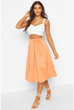 Orange Basic Box Pleat Midi Skirt