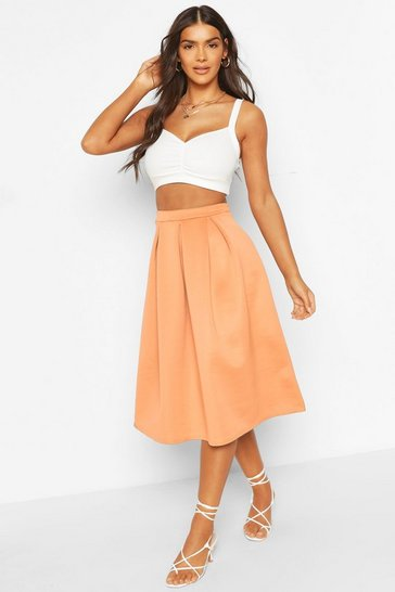 Womens Orange Basic Box Pleat Midi Skirt