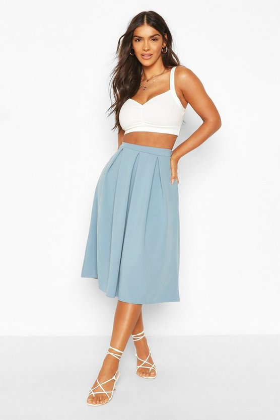 Womens Petrol Basic Box Pleat Midi Skirt