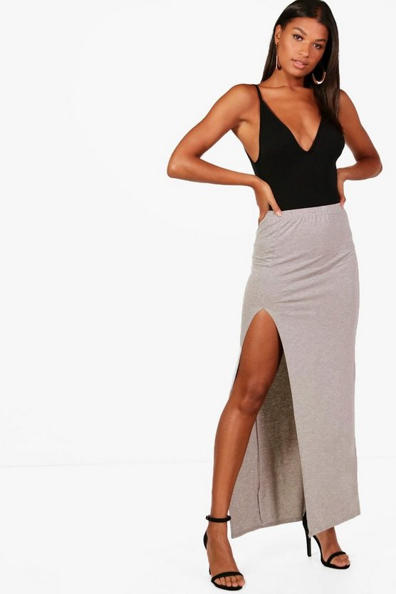 Womens Grey marl Soraya Thigh Split Jersey Maxi Skirt