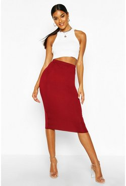 Womens Berry Basic Jersey Midi Skirt