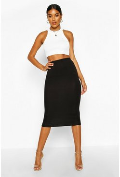 Womens Black Basic Jersey Midi Skirt