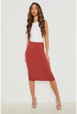 Womens Chestnut Basic Jersey Midi Skirt