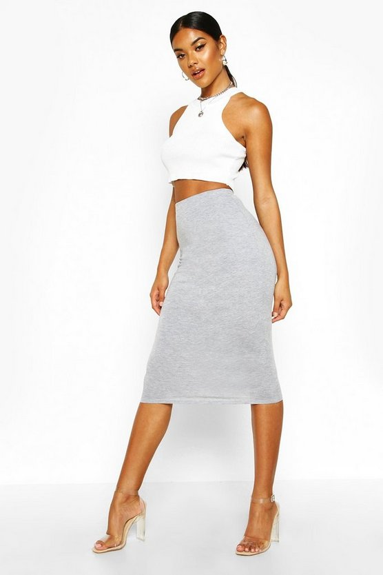 Grey marl Basic Jersey Midi Skirt