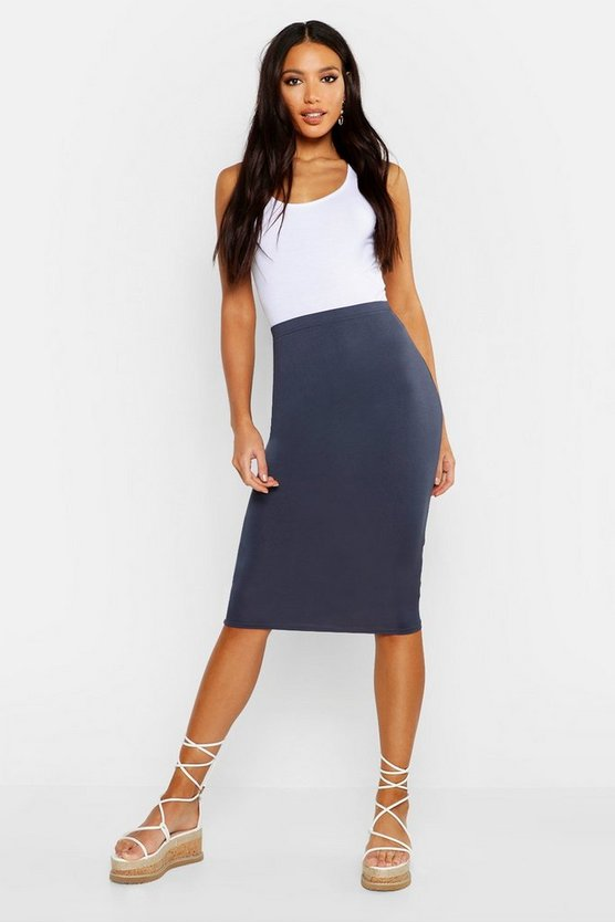 Womens Ink Basic Jersey Midi Skirt