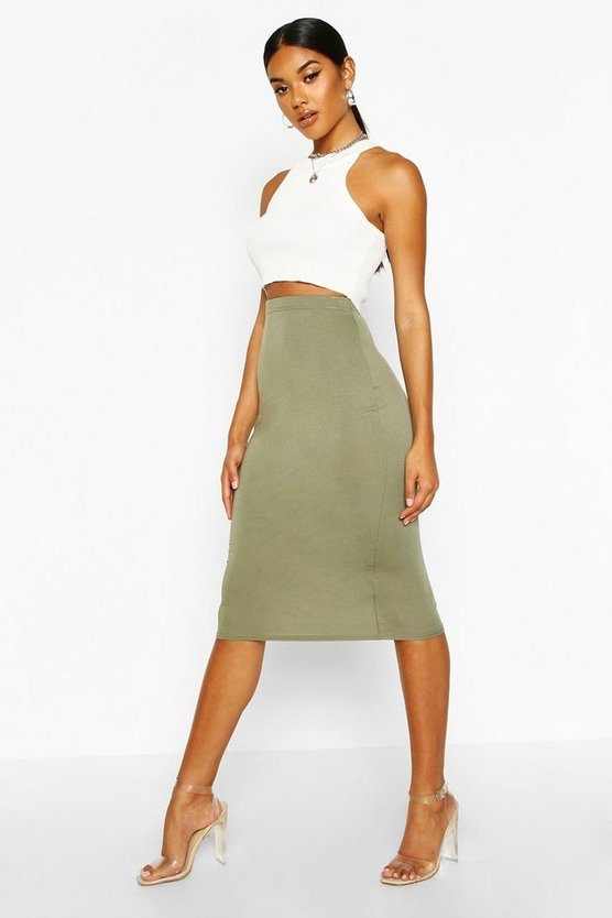 Womens Khaki Basic Jersey Midi Skirt