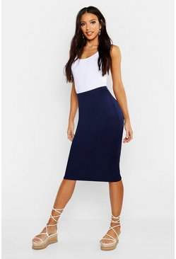 Womens Navy Basic Jersey Midi Skirt