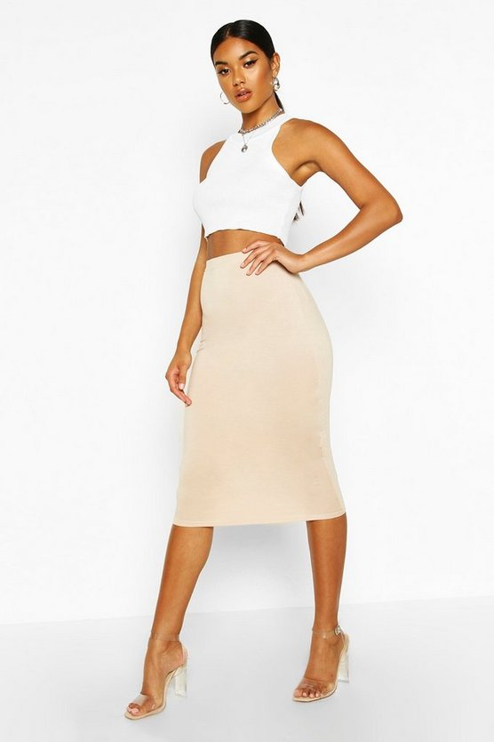 Womens Sand Basic Jersey Midi Skirt