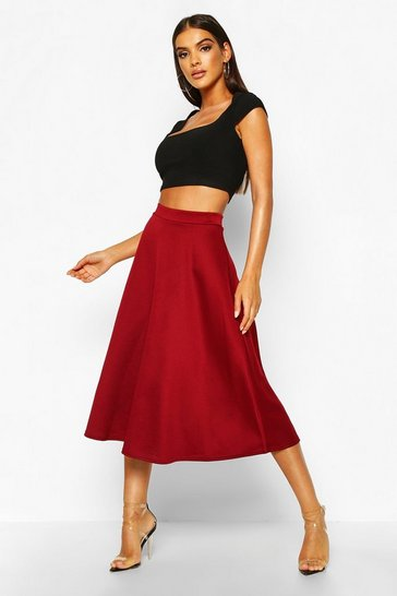 Berry Basic Plain Full Circle Midi Skirt