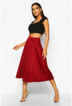 Womens Berry Basic Plain Full Circle Midi Skirt