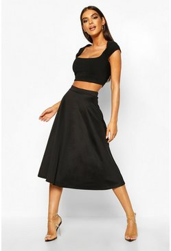 Black Basic Plain Full Circle Midi Skirt