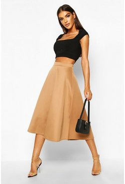 Womens Camel Basic Plain Full Circle Midi Skirt