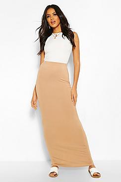 Basic Contrast Waist Jersey Maxi Skirt