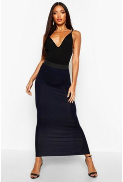 Womens Black Basic Contrast Waist Jersey Maxi Skirt