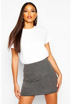 Womens Charcoal Basic Jersey Mini Skirt