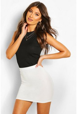 Womens Ecru Basic Jersey Mini Skirt