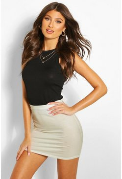 Womens Sand Basic Jersey Mini Skirt