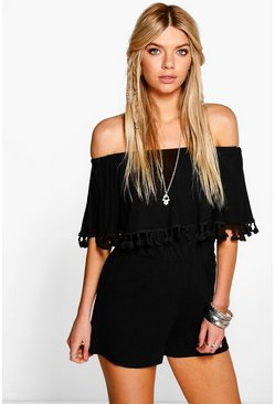 Womens Black Bardot Off The Shoulder Frill Jersey Playsuit