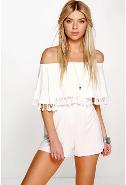 Womens Ivory Bardot Off The Shoulder Frill Jersey Playsuit