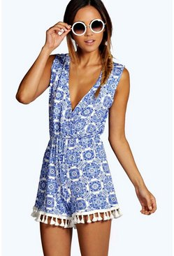 Womens Blue Print Wrap Over Tassel Trim Playsuit
