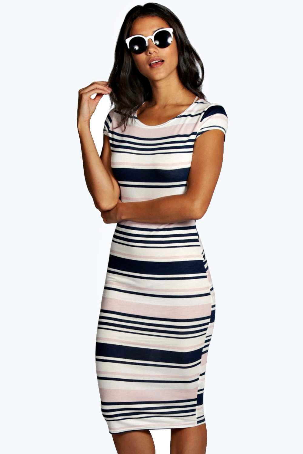 cc722368924 Womens Navy Arianna Stripe Midi Bodycon Dress. Hover to zoom