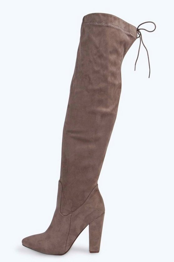 Thigh High Pointed Block Heel Boots
