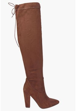Womens Tan Thigh High Pointed Block Heel Boots