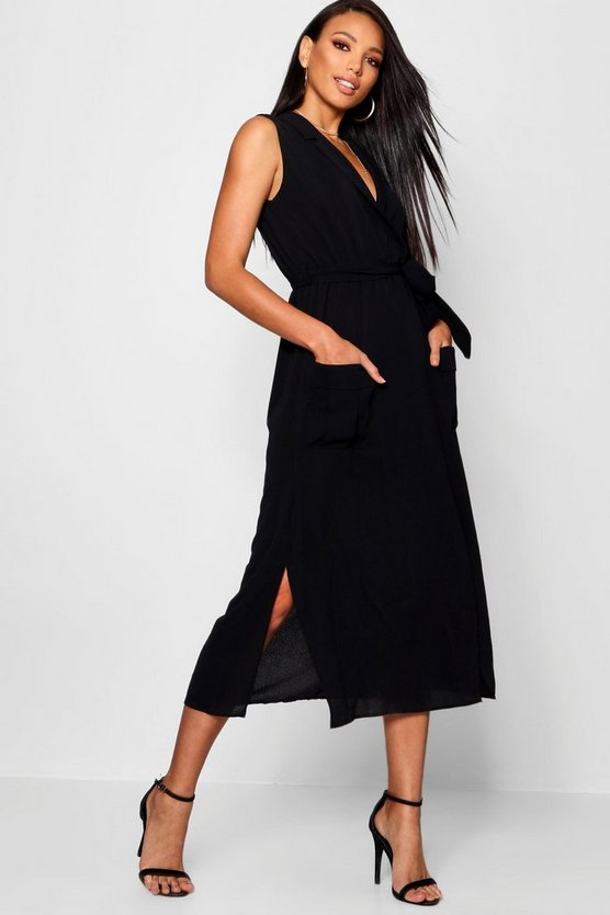 Sleeveless Belted Midi Shirt Dress