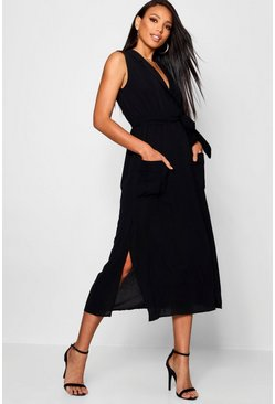 Womens Black Sleeveless Belted Midi Shirt Dress