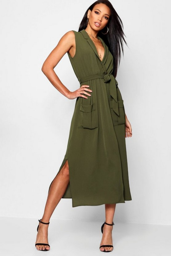 Womens Khaki Sleeveless Belted Midi Shirt Dress