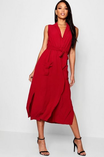 Womens Wine Sleeveless Belted Midi Shirt Dress