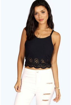 Womens Black Emily Lazercut Scallop Edge Cami