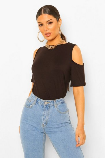 Womens Black Basic Cold Shoulder Curved Hem T-Shirt