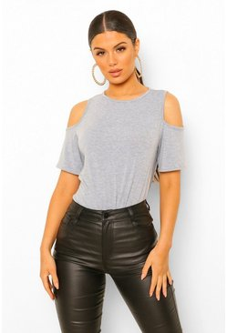 Grey marl Basic Cold Shoulder Curved Hem T-Shirt