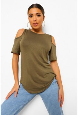Womens Khaki Basic Cold Shoulder Curved Hem T-Shirt