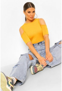 Mustard Basic Cold Shoulder Curved Hem T-Shirt