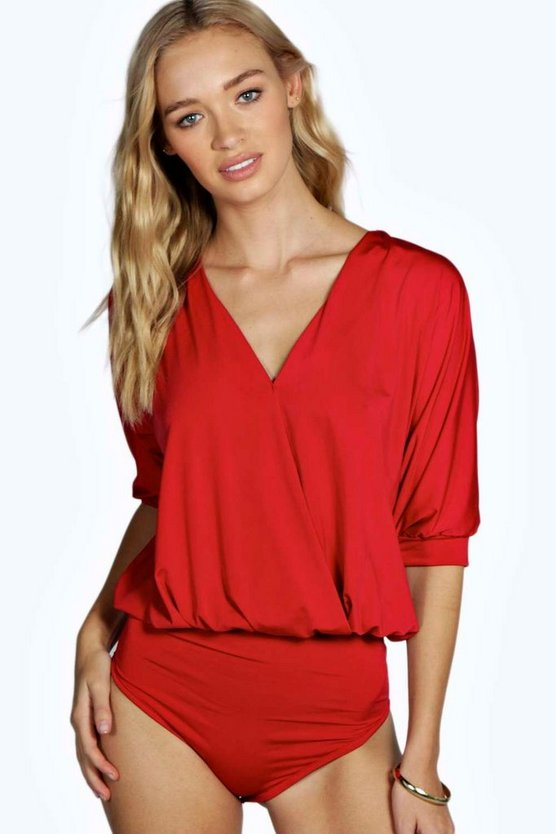 Red Wrap Front Oversized Slinky Bodysuit